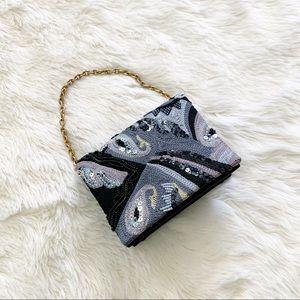 Vintage • mini handbag sequined beaded franchi